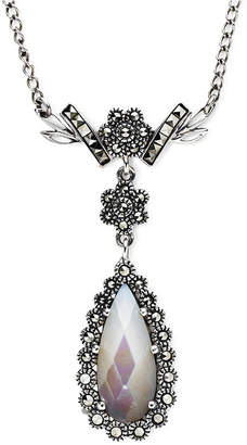 Mother of Pearl FINE JEWELRY Marcasite and Mother-of-Pearl Teardrop Necklace