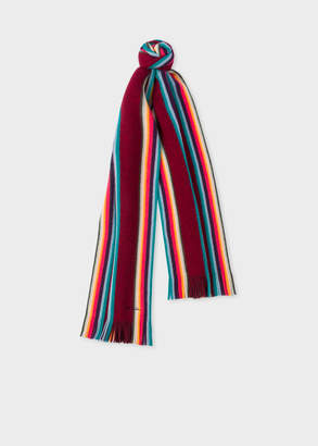 Paul Smith Men's Burgundy 'Artist Stripe' Band Merino Wool Scarf