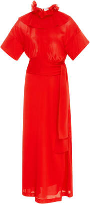 Victoria Beckham Woven Ruffle Neck Jersey Midi Dress