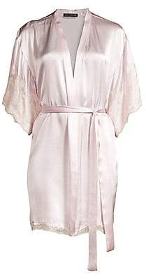 Natori Women's Lolita Lace-Trim Silk Robe