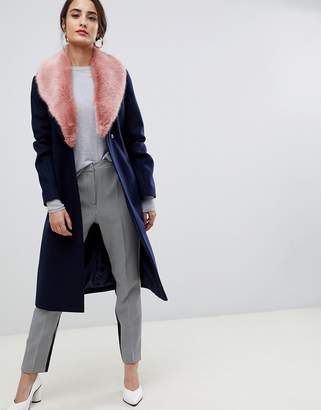 Asos Design DESIGN detachable faux fur collar coat with tie belt