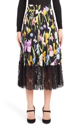 Dolce & Gabbana Iris Print Silk Blend Skirt