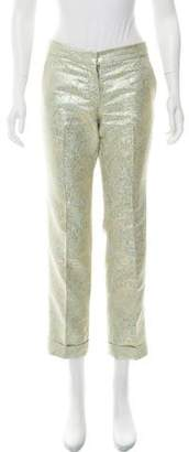 Tory Burch Mid-Rise Brocade Pants