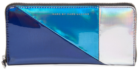 Marc By Marc Jacobs Space Techno Metallic Colorblock Slim Zip Around Wallet
