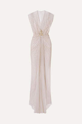Jenny Packham Amelie Draped Embellished Tulle Gown - Beige