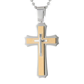 FINE JEWELRY Mens Two-Tone Stainless Steel Triple Layer Cross Pendant Necklace