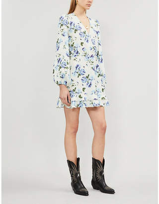 The Kooples Frill-trimmed floral-print linen dress