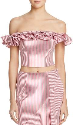 WAYF Anzio Off-the-Shoulder Striped Cropped Top
