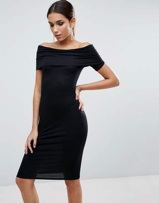 ASOS Bardot Off Shoulder Midi Bodycon Dress $34 thestylecure.com