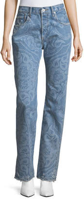 Jonathan Simkhai Paisley-Printed High-Rise Straight-Leg Denim Pants