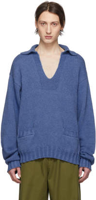 Maison Margiela Blue Cashmere V-Neck Sweater