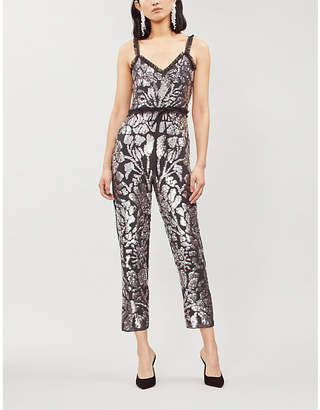 NEEDLE AND THREAD Floral Gloss slim-fit chiffon jumpsuit