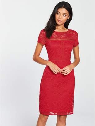 Wallis Lace Shift Dress - Red
