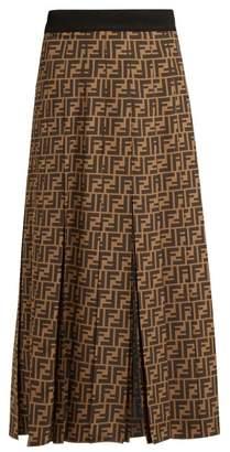 Fendi Ff Print Pleated Silk Skirt - Womens - Brown Multi