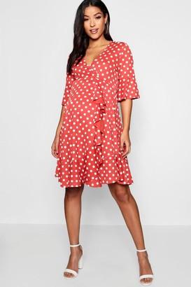 boohoo Maternity Spot Frill Wrap Dress