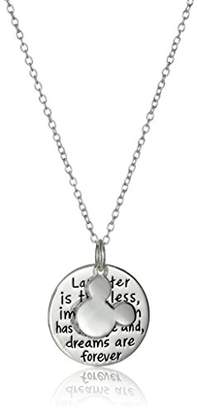 Disney Sterling Laughter is Timeless. Dreams are Forever Mickey Mouse Pendant Necklace