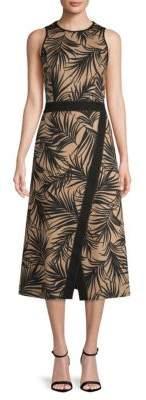 BOSS Denura Palm Leaf-Print Midi Dress