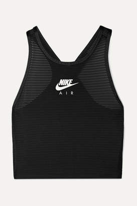Nike Miler Cropped Mesh-paneled Stretch Top - Black