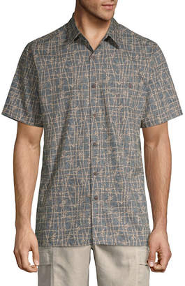 Island Shores Mens Short Sleeve Button-Front Shirt
