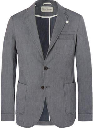 Oliver Spencer Navy Theobald Unstructured Striped Stretch-Cotton Blazer