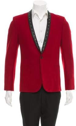 Saint Laurent Studded Leather-Trimmed Blazer