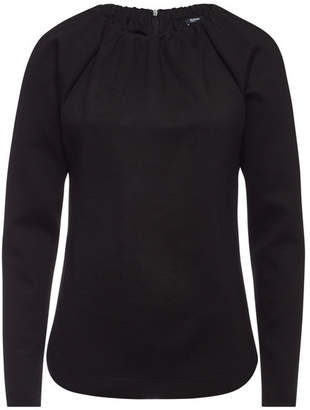 Jil Sander Navy Top with Ruched Neckline