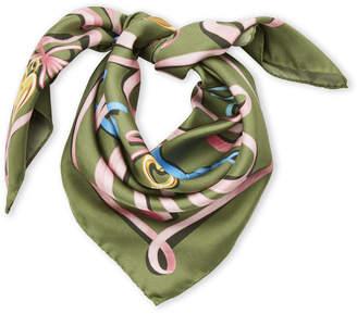 Moschino Olive Ribbon Charm Print Silk Scarf