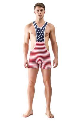 39c13d8da3 Fangran Men's American Flag Bodywear Sexy Lingerie Bodysuit Wrestling  Singlet Struggles Underwear Sports Jockstrap Jumpsuit S