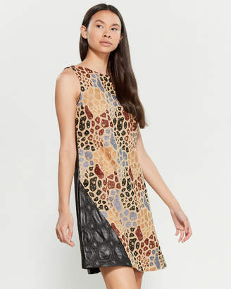 Save the Queen Studded Mix Media Sheath Dress