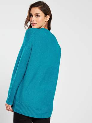 Very Crew Neck Dipped Hem Longline Jumper - Azure Blue
