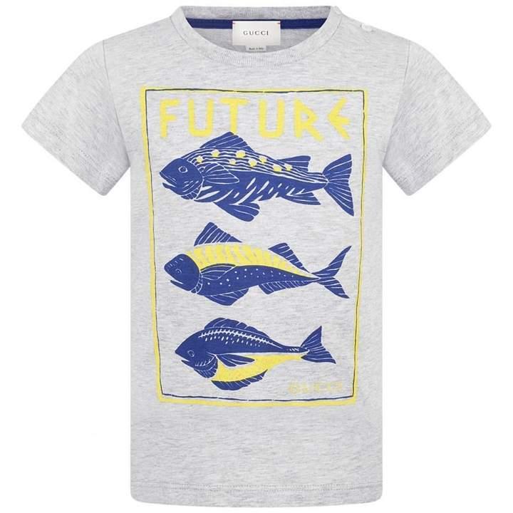 GUCCIBaby Boys Grey Fish Print Top