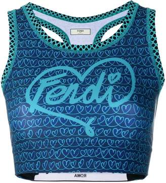 Fendi cropped logo tank top