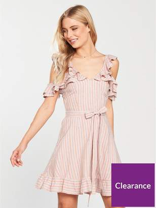 Very Cold Shoulder Tie Waist Linen Dress - Stripe