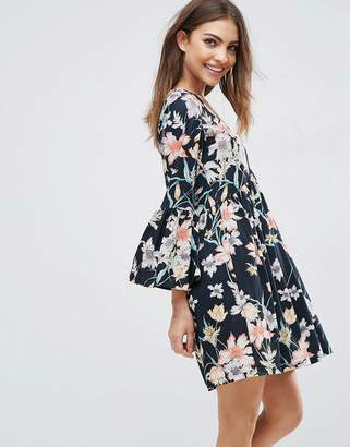 ASOS Smock Dress With V Neck and Trumpet Sleeve In Floral Print $45 thestylecure.com