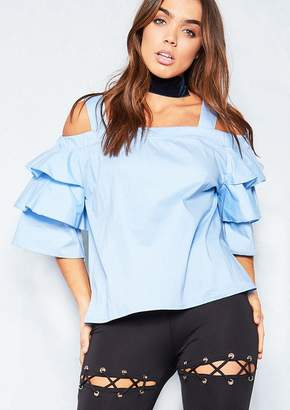 58540f38f85b3 Missy Empire Missyempire Anarbelle Blue Cold Shoulder Frill Sleeve Top