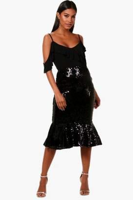 boohoo Sequin Ruffle Hem Midi Skirt