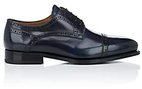 Barneys New York Men's Cap-Toe Burnished Leather Bluchers-Black, Grey