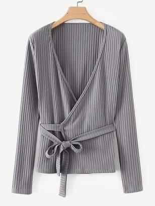 Shein Self Tie Rib Knit Trim Wrap Sweater
