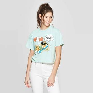 Garfield Women's Garfield Short Sleeve Cropped Graphic T-Shirt - Mighty Fine (Juniors') - Teal