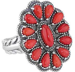American West Sterling Red Coral Cluster Ring