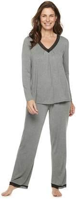 Croft & Barrow Petite Lace Trim Tee & Pants Pajama Set