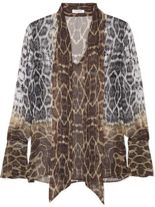 Equipment Jacqueleen Pussy-bow Leopard-print Silk-georgette Blouse