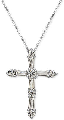 Arabella Sterling Silver White Swarovski Zirconia Cross Pendant Necklace (1-1/2 ct. t.w.)