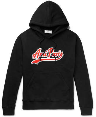 Ami Logo-Appliquéd Fleece-Back Cotton-Jersey Hoodie