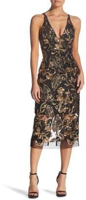 Dress the Population Margo Plunge Neck Sequin Midi Dress