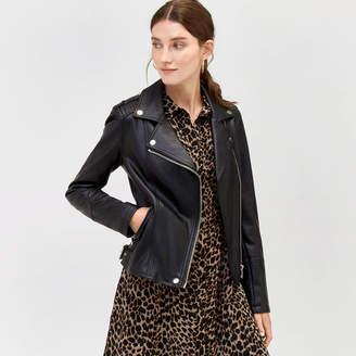 Warehouse Faux Leather Biker Jacket