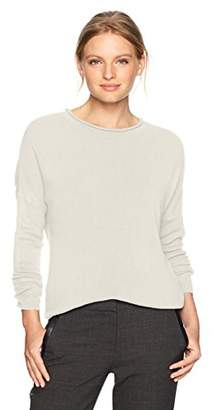 Sag Harbor Women's Petite Long Sleeve Crew Neck With Hi-Lo Hem Pullover