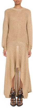 Chloé Shimmer Ribbed Handkerchief Dress