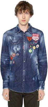 DSQUARED2 Patch Cotton Denim Western Shirt