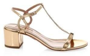 Aquazzura Women's Almost Bare Metallic Block Heel Sandals - Soft Gold - Size 42 (12)